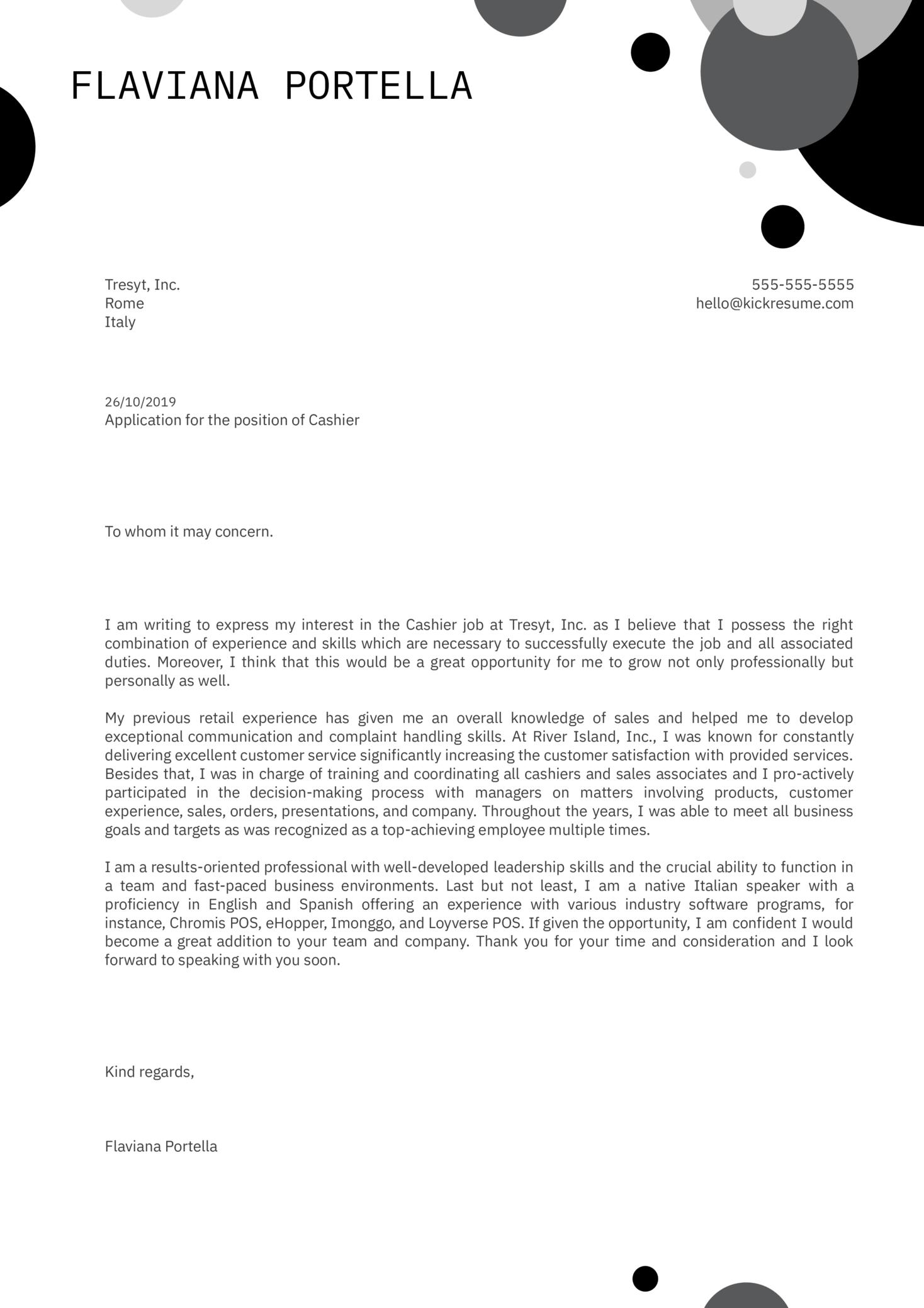 Cashier Cover Letter Sample Kickresume