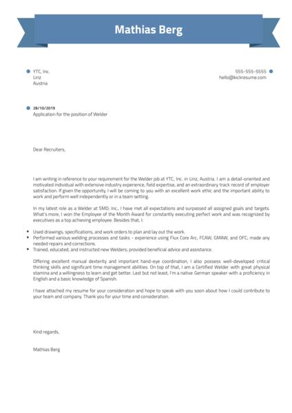 Welder Cover Letter Example