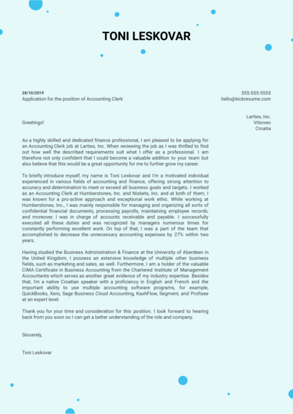 Accounting Clerk Cover Letter Example
