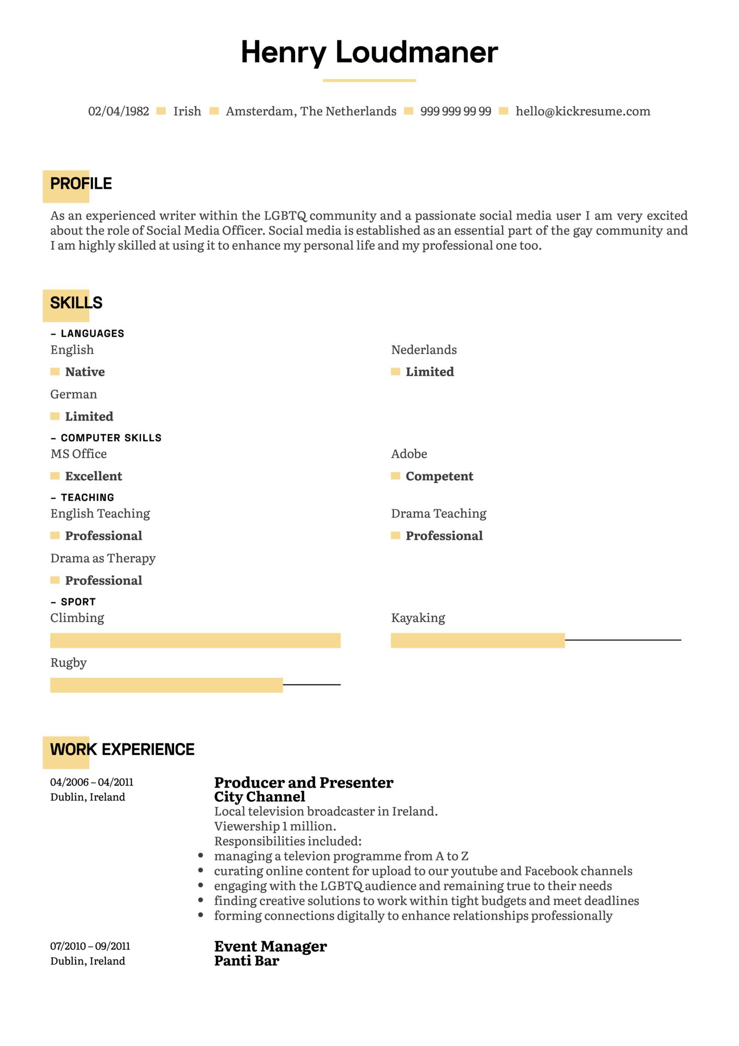 Producer & Presenter Resume Example (parte 1)
