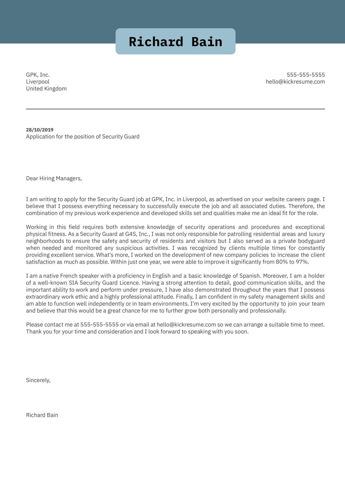 Security Guard Cover Letter Sample