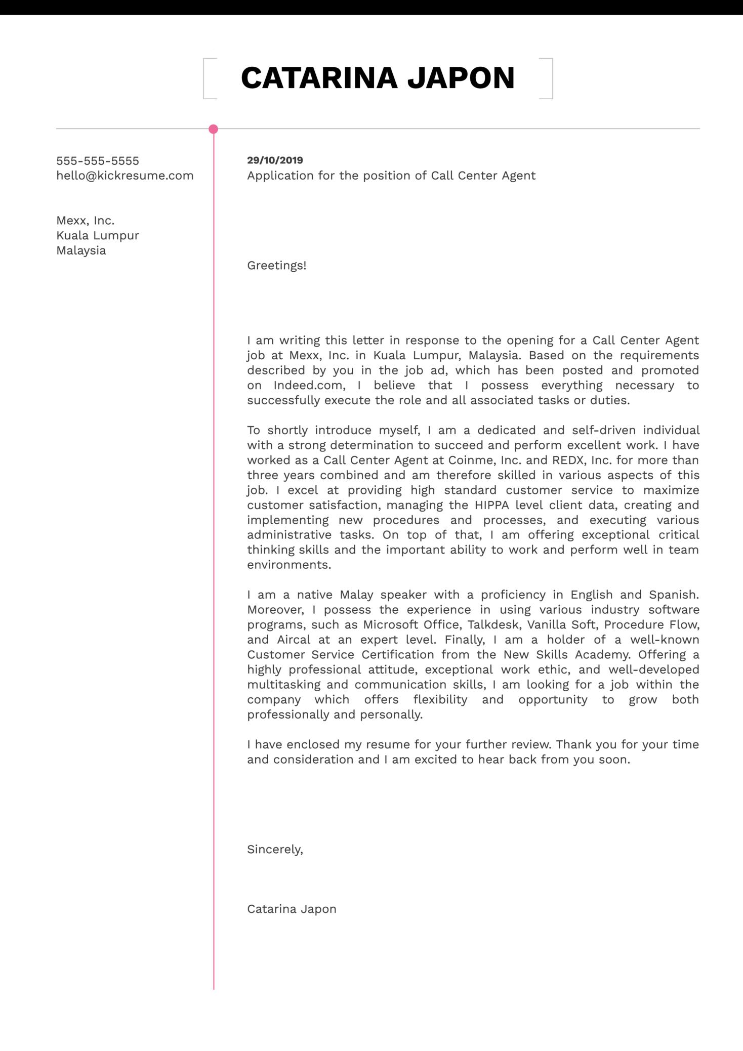 Call Center Cover Letter Sample
