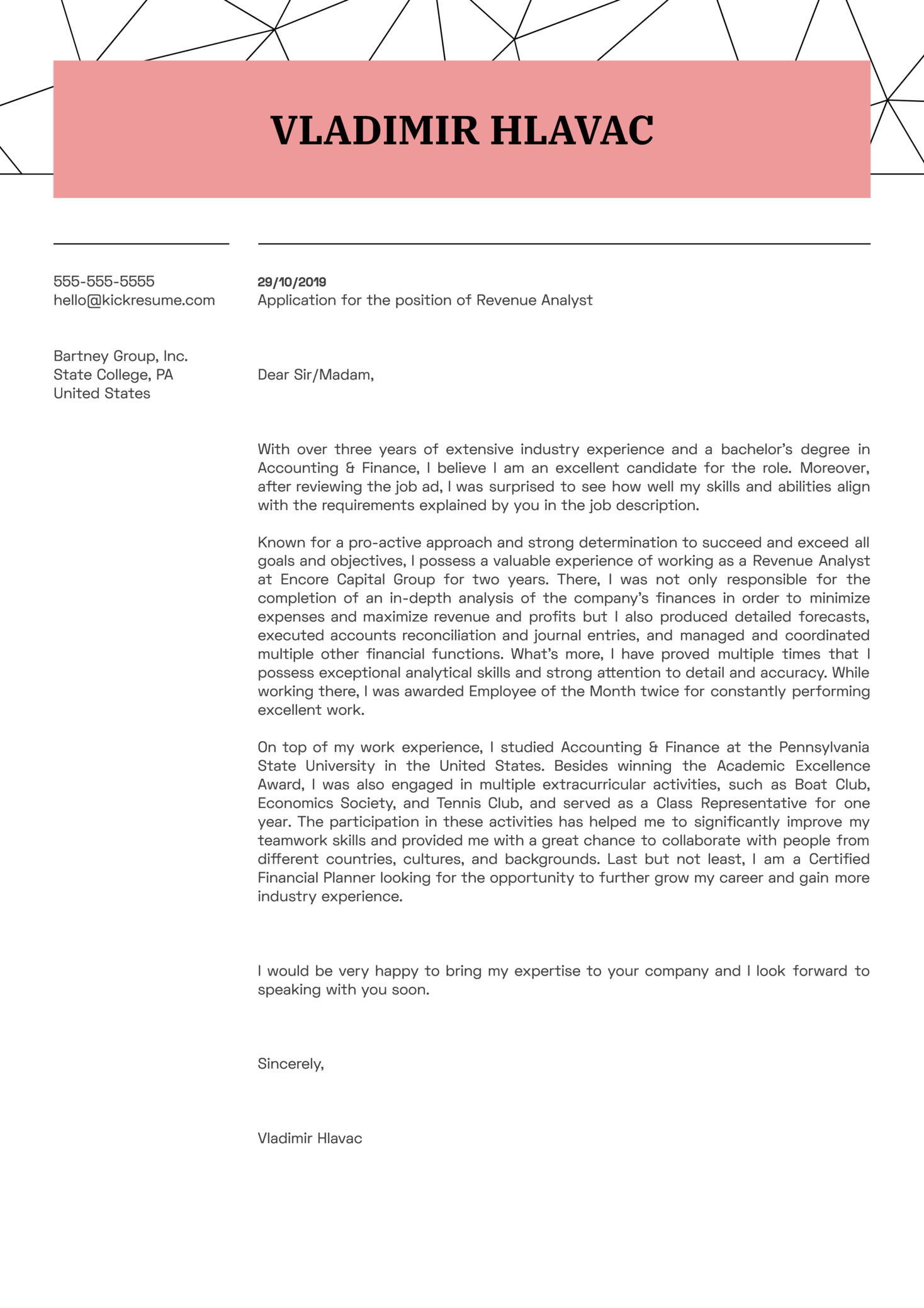 Revenue Analyst Cover Letter Example