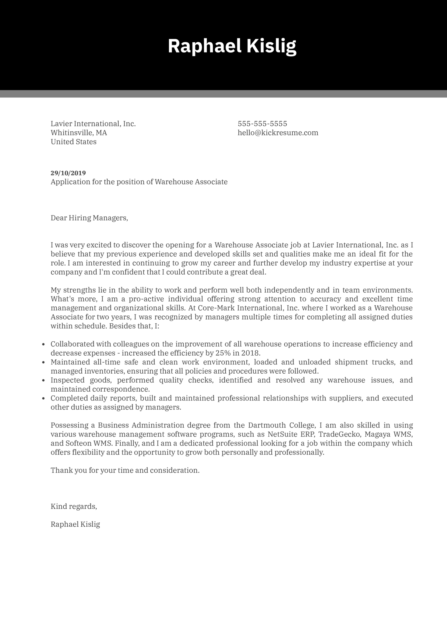 Warehouse Associate Cover Letter Example