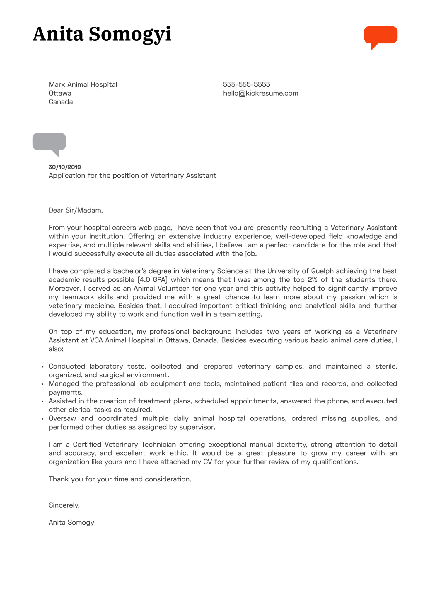 Veterinary Assistant Cover Letter Example