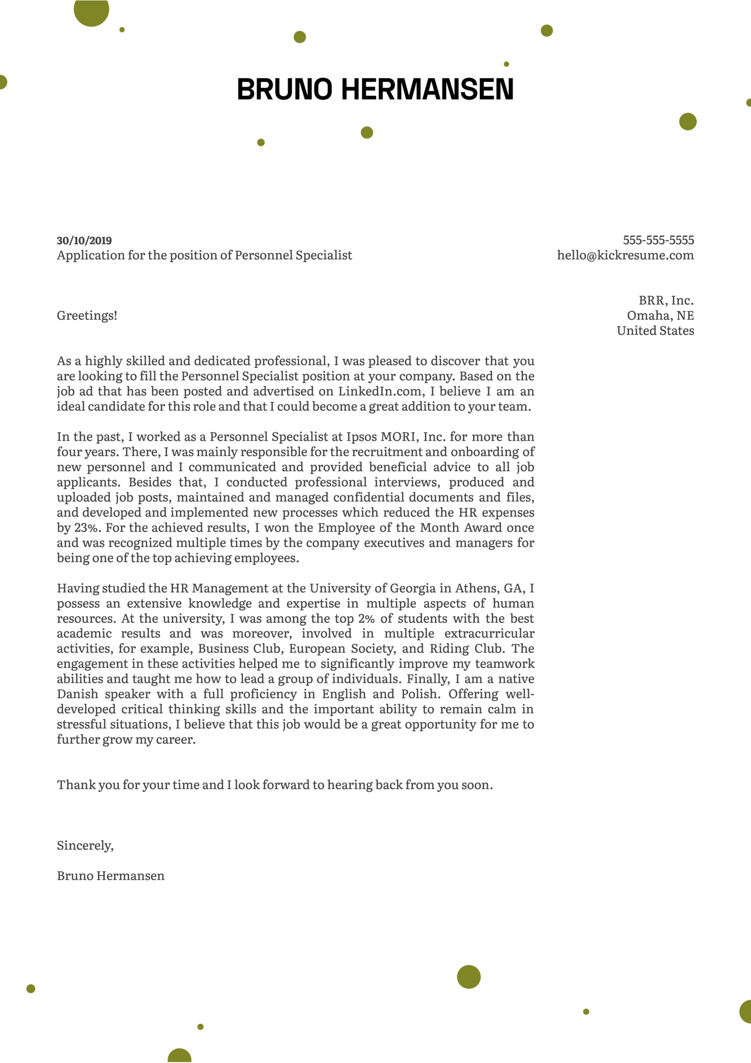 Personnel Specialist Cover Letter Example