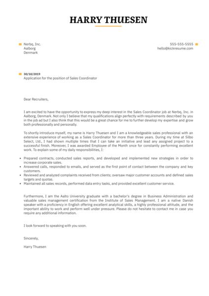 Sales Coordinator Cover Letter Sample