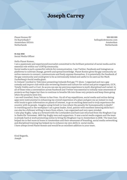 Social Media Officer Cover Letter Sample