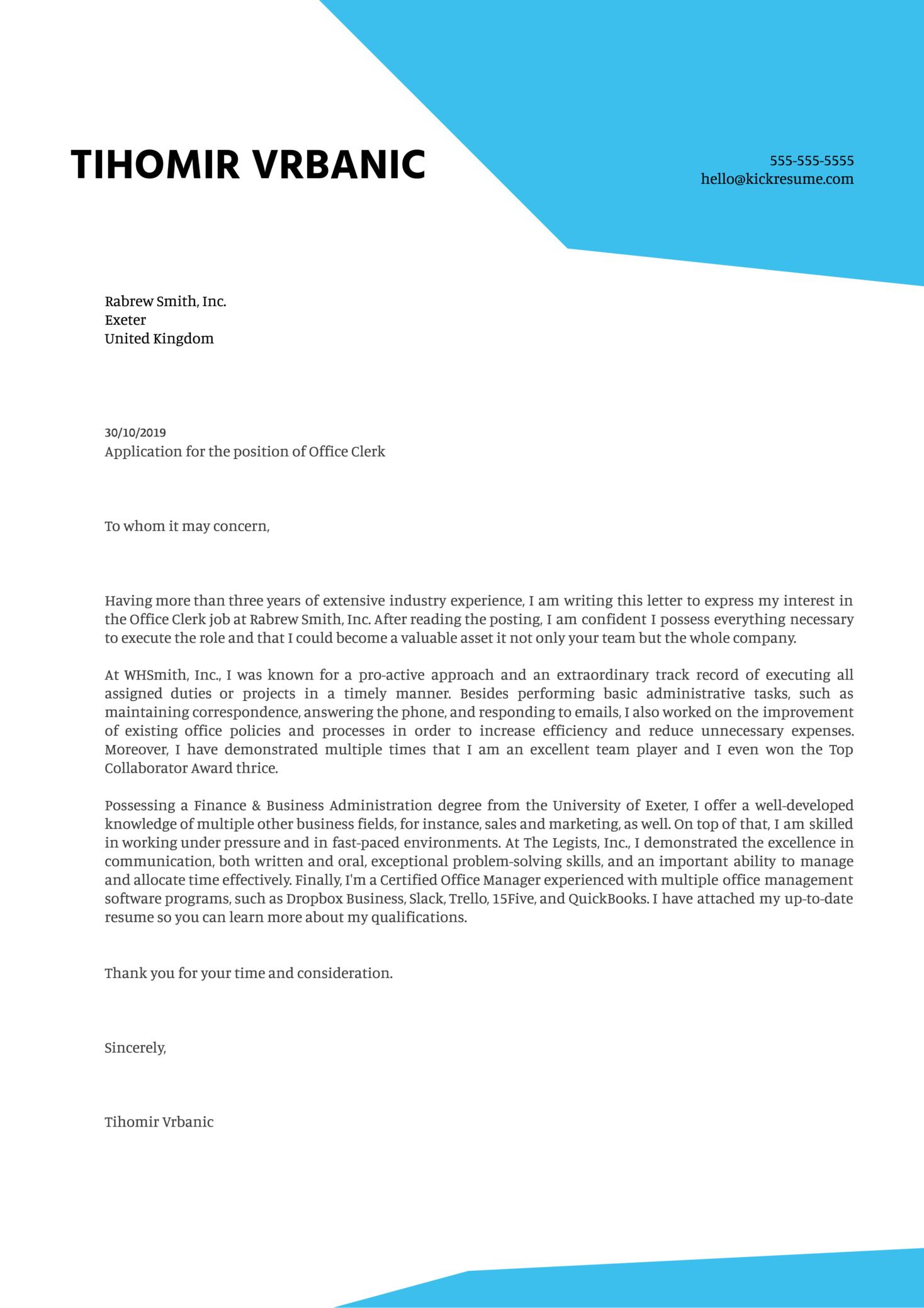 Office Clerk Cover Letter Example