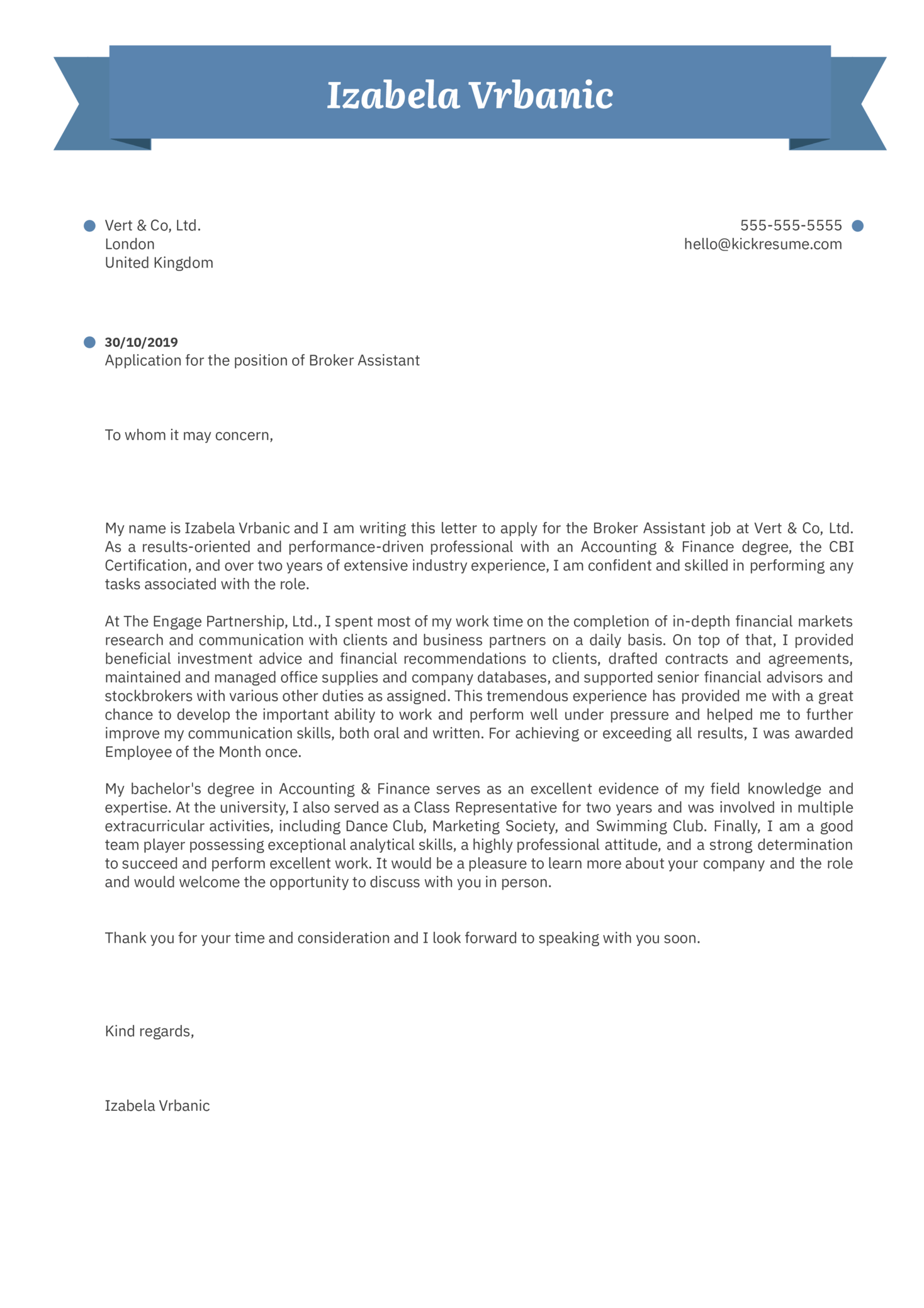Broker Assistant Cover Letter Example