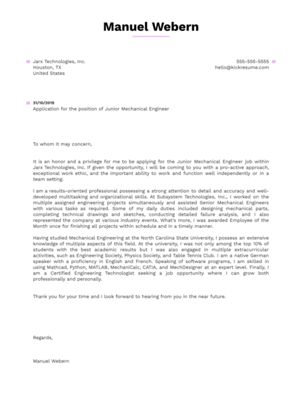 Junior Mechanical Engineer Cover Letter Example