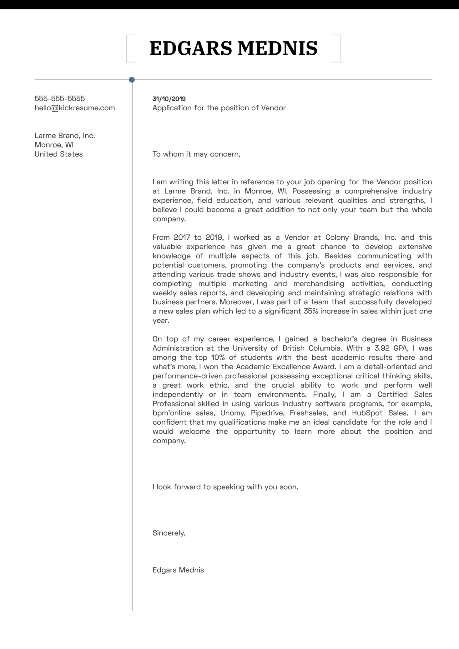 Vendor Cover Letter Example