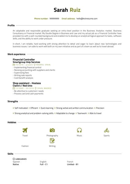 Business Administration Intern Resume Sample