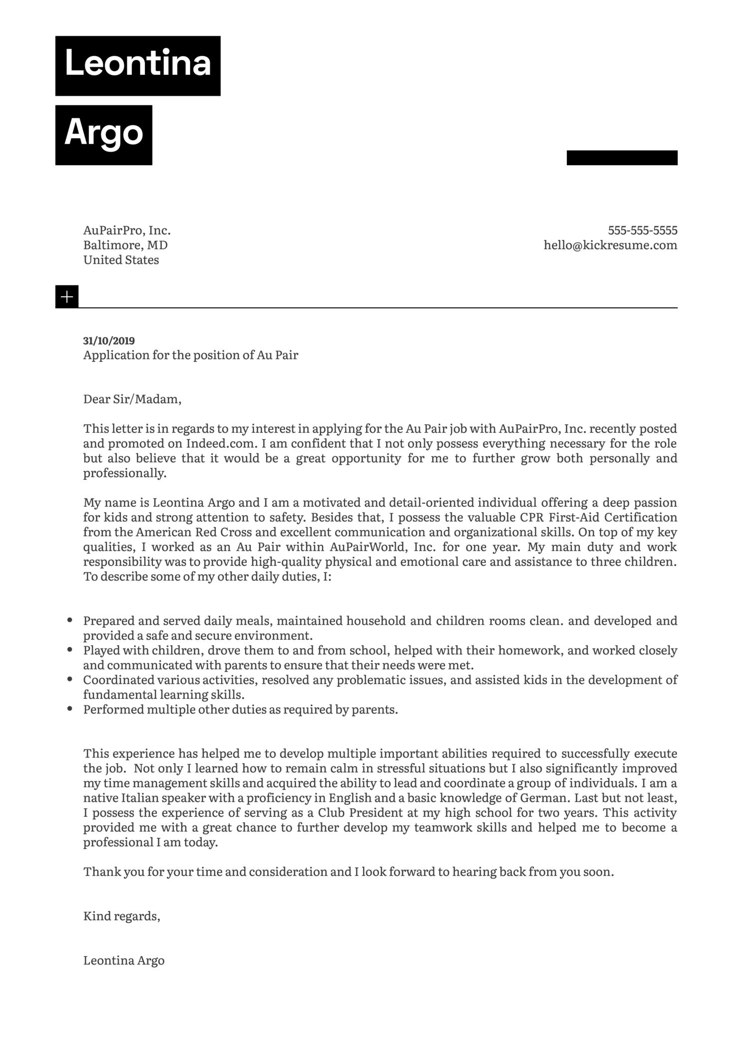 Au Pair Cover Letter Sample