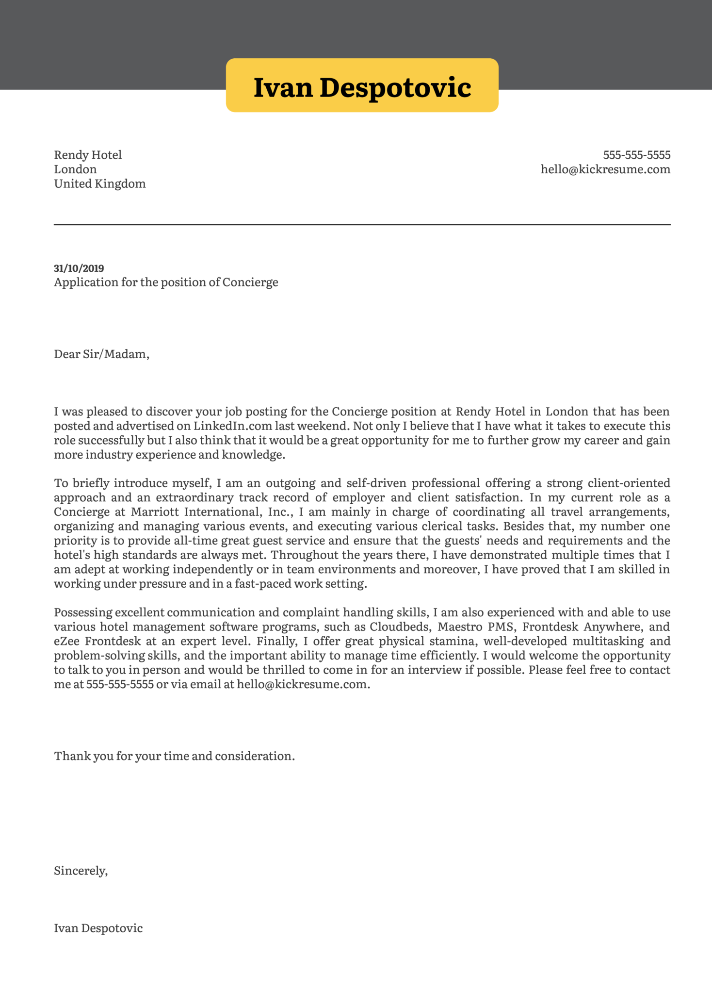 Concierge Cover Letter Example