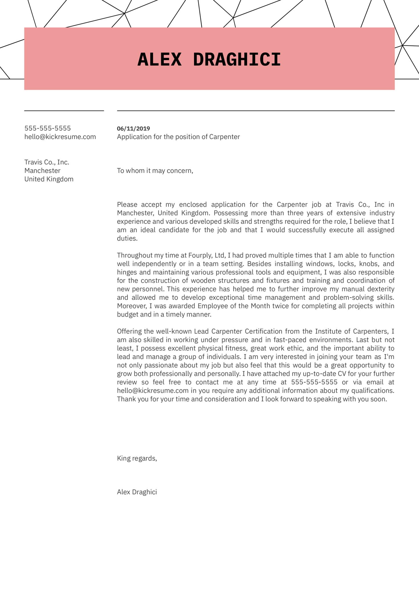 Carpenter Cover Letter Example