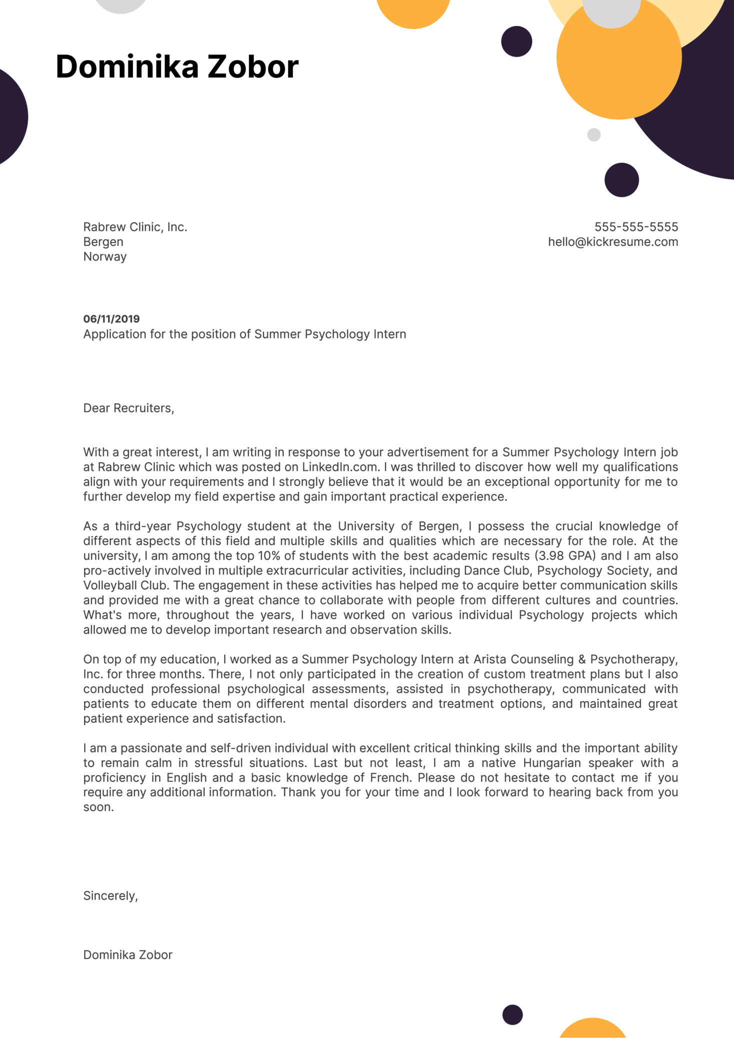 Psychology Cover Letter Example