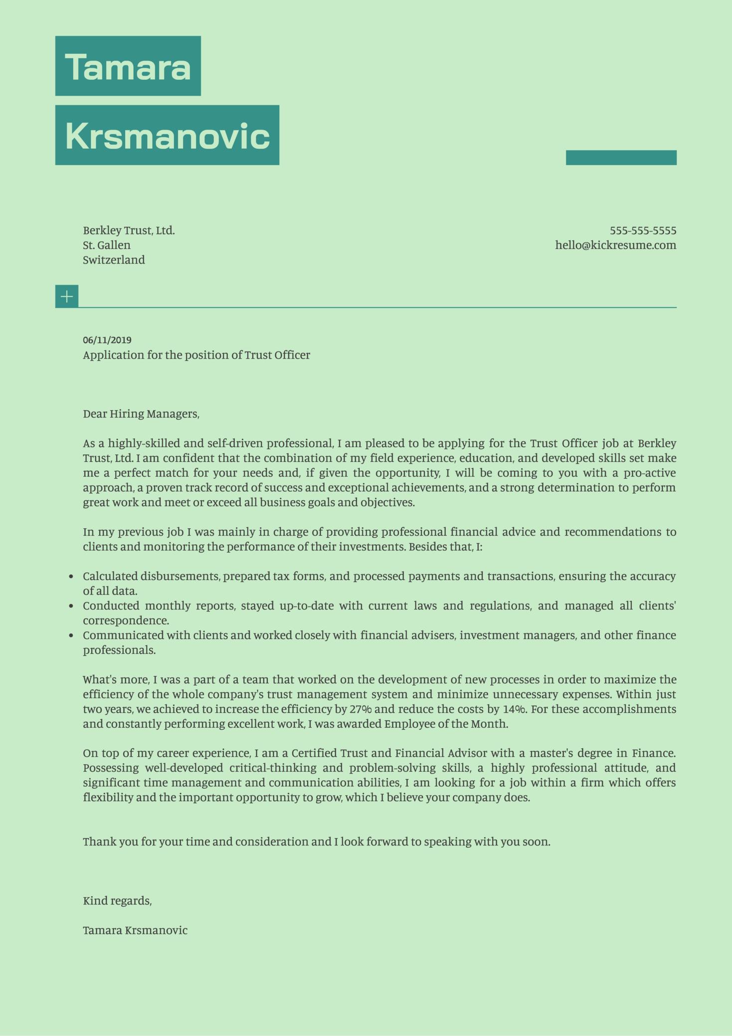 Trust Officer Cover Letter Example
