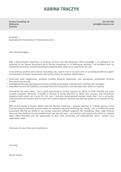 Trainee Accountant Cover Letter Example