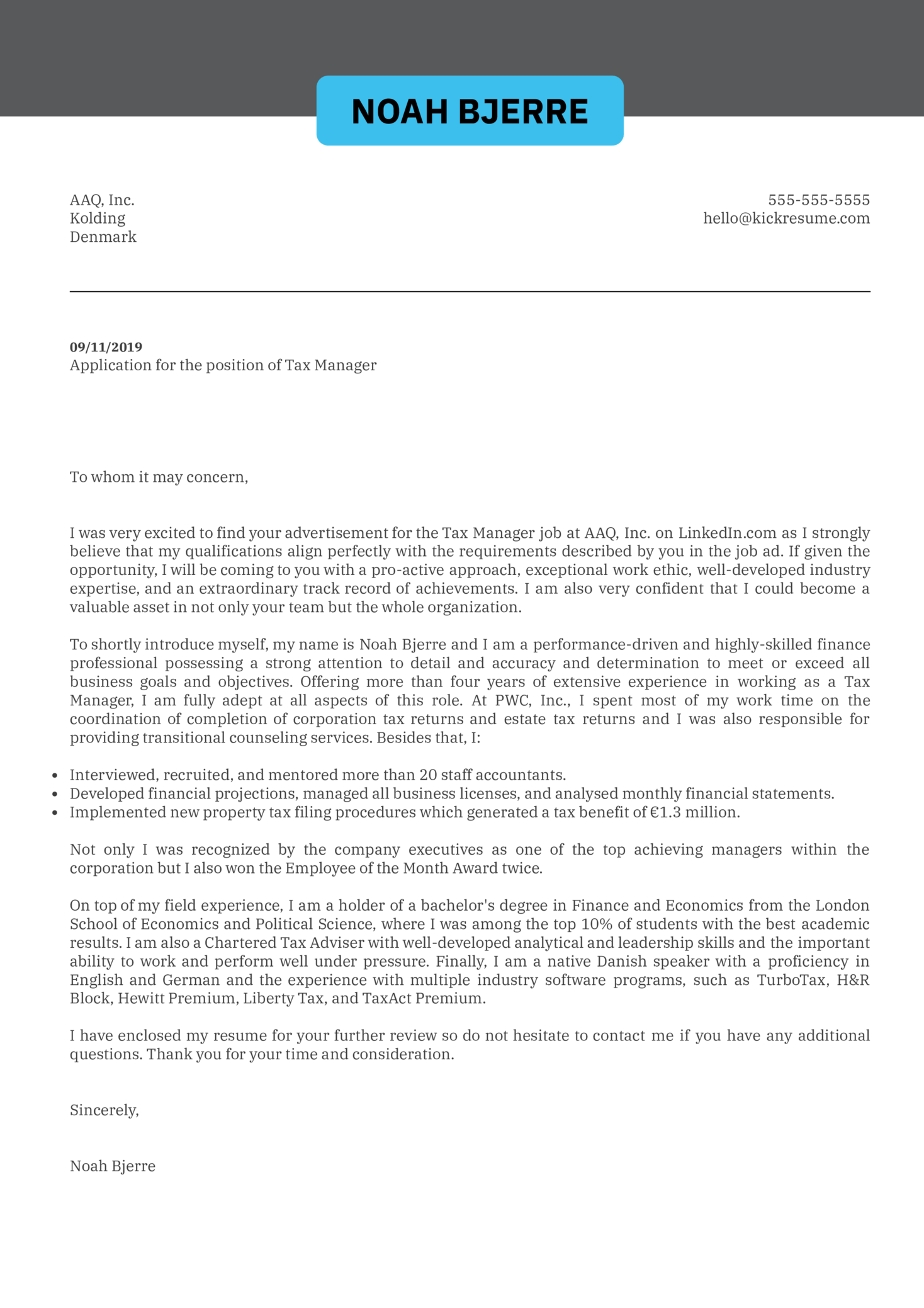 Tax Manager Cover Letter Example