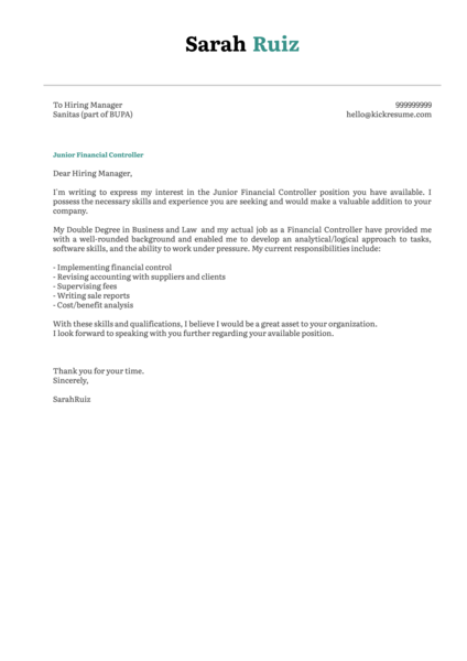 Junior Financial Controller Cover Letter