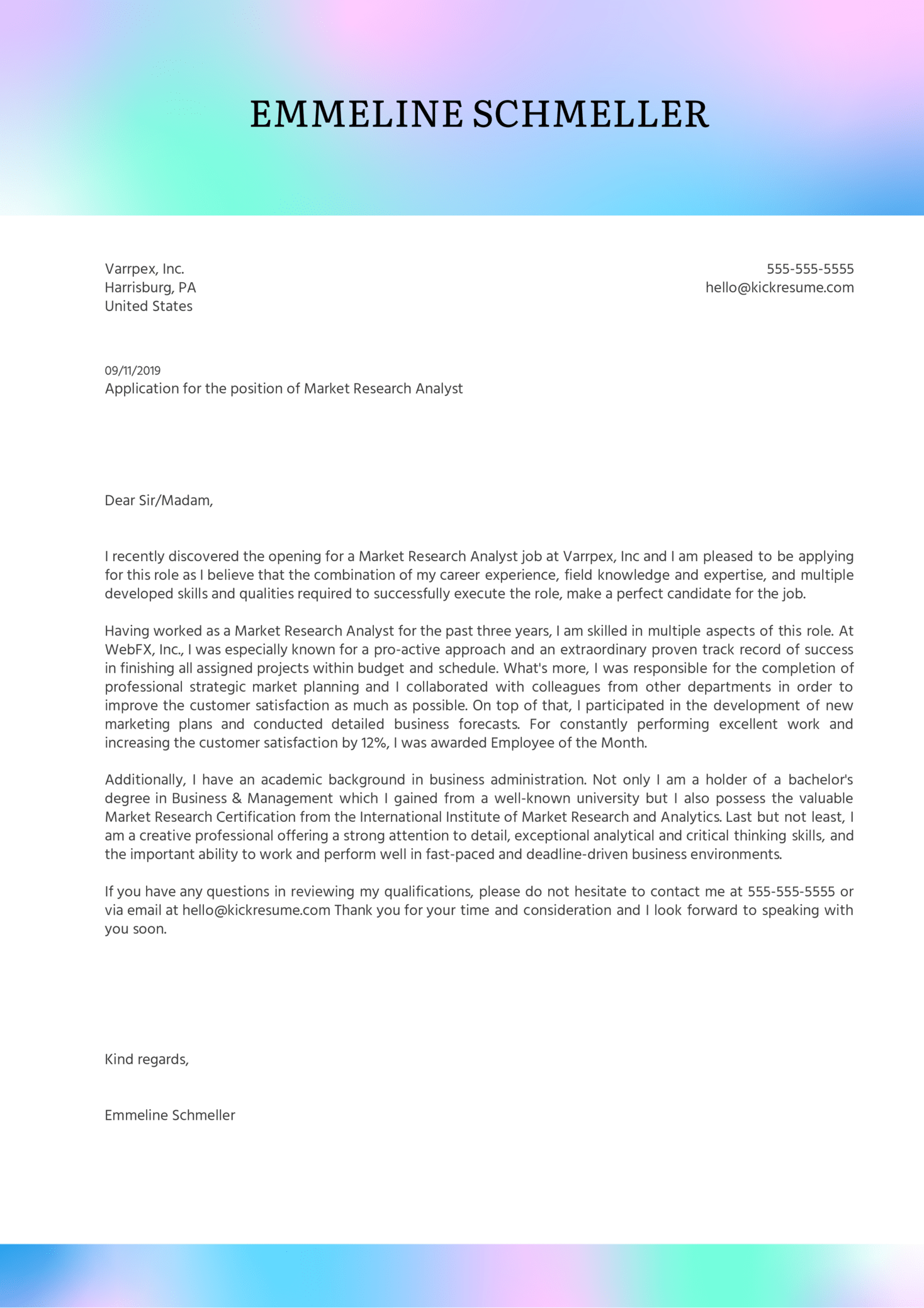 Market Research Analyst Cover Letter Example