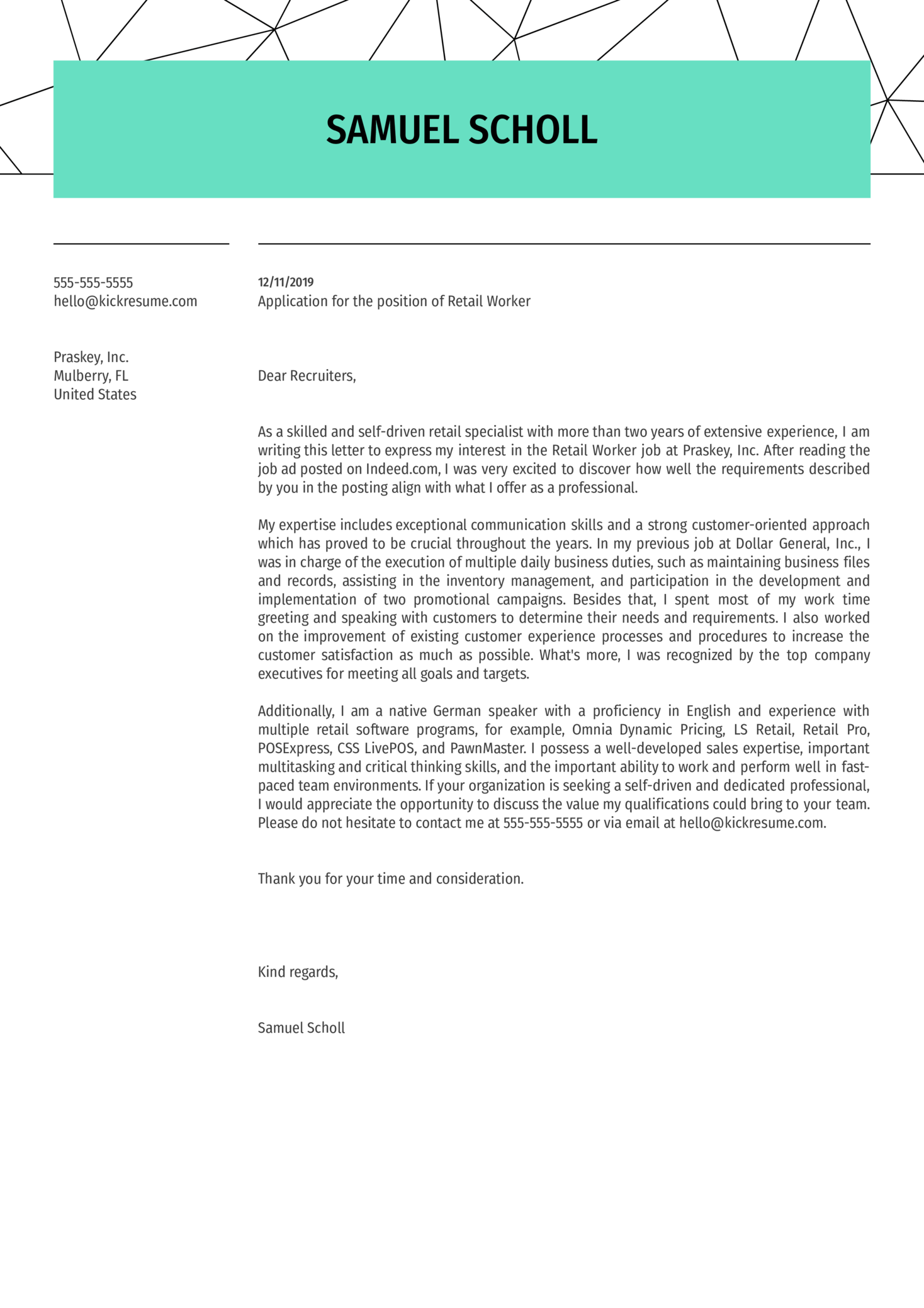 Retail Worker Cover Letter Sample