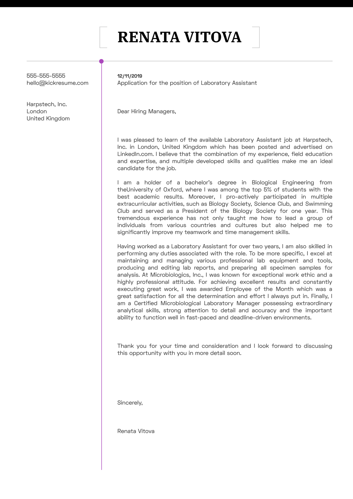 Laboratory Assistant Cover Letter Example