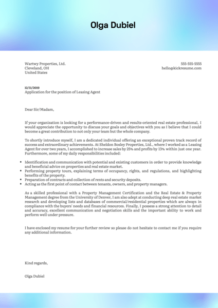 Leasing Agent Cover Letter Example