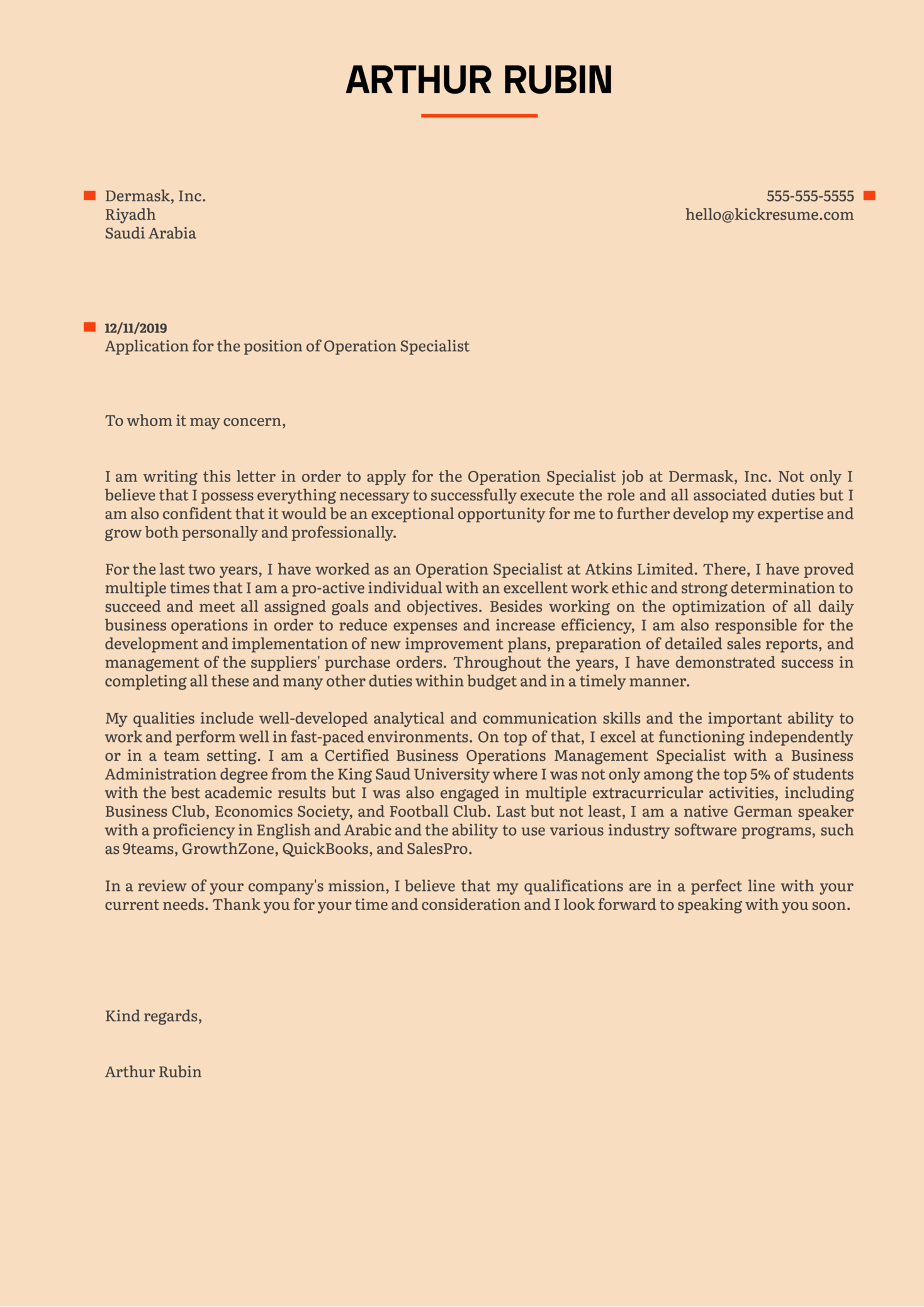 Operation Specialist Cover Letter Example