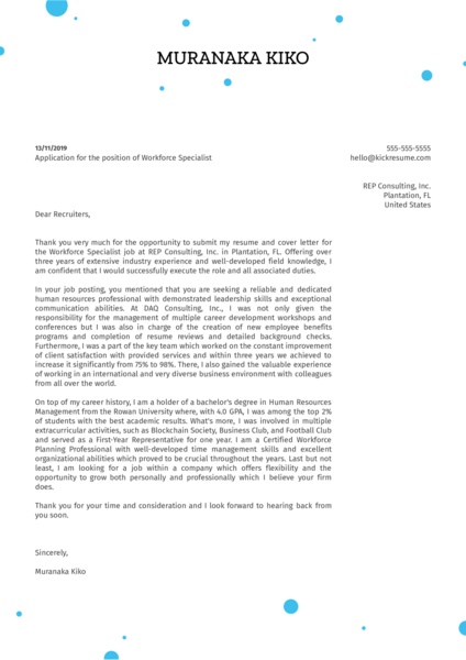 Workforce Specialist Cover Letter Example