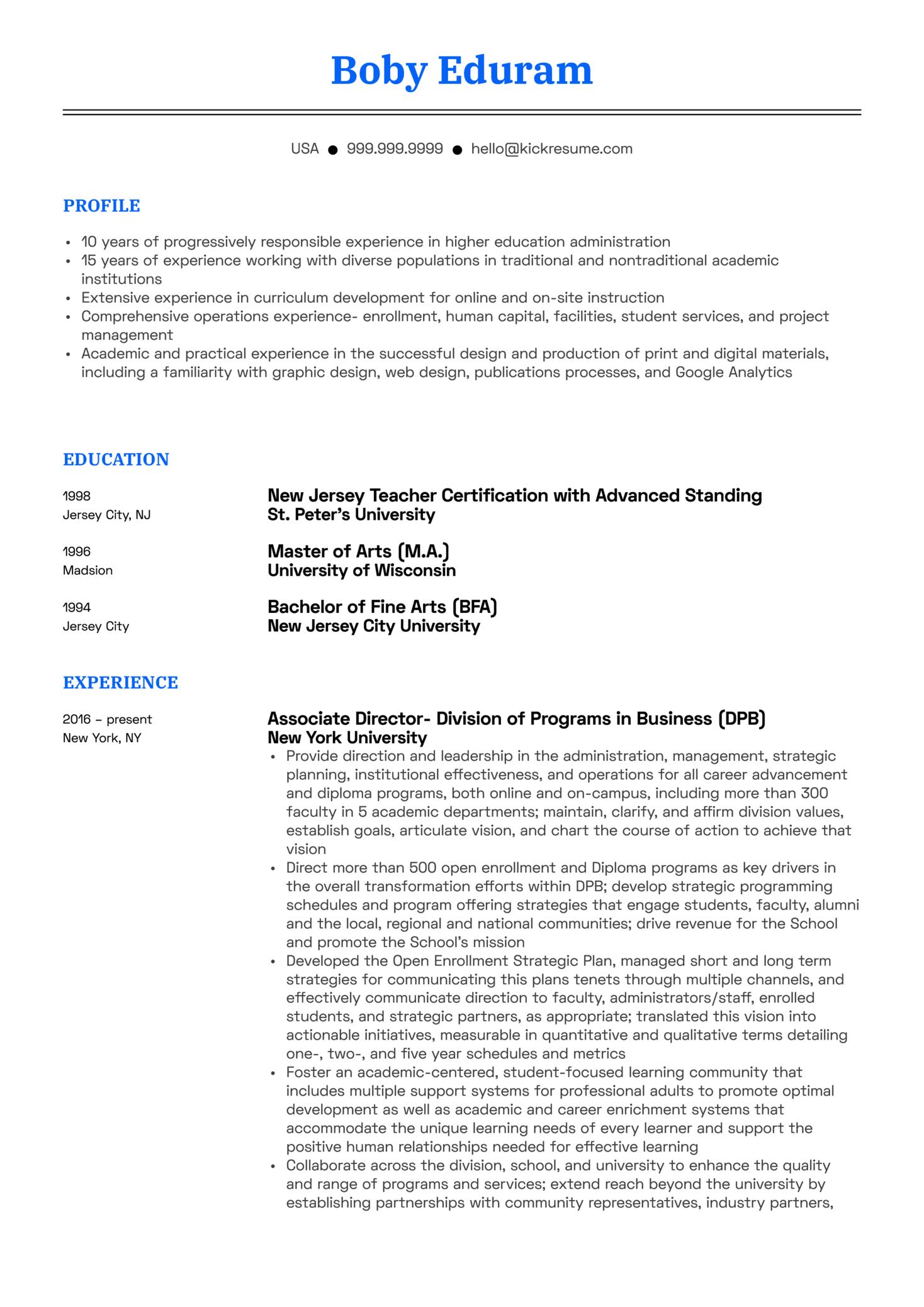 New York University Associate Director Resume Sample (Part 1)