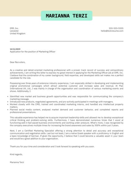 Marketing Officer Cover Letter Template