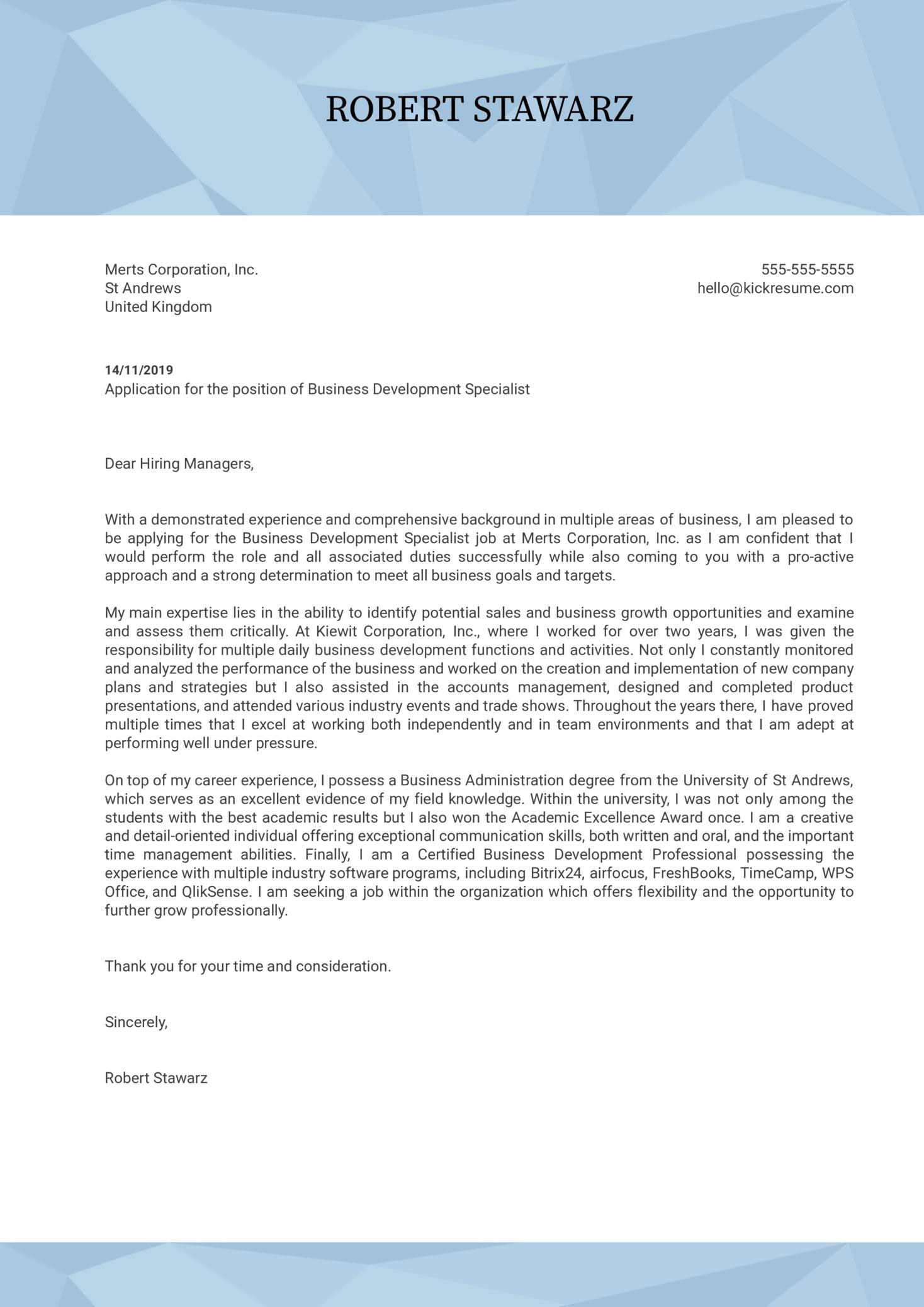 Business Development Specialist Cover Letter Sample