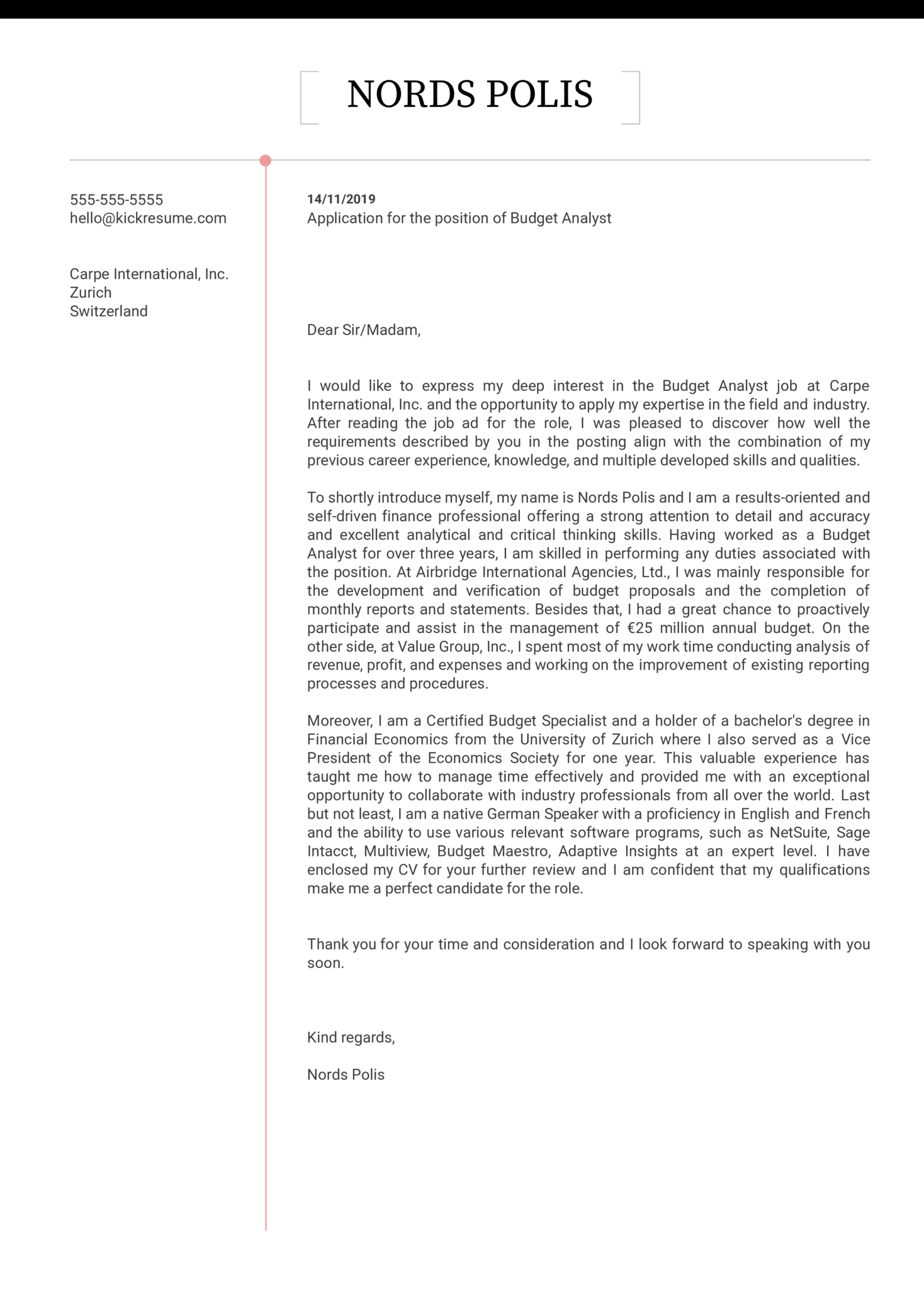 Budget Analyst Cover Letter Sample