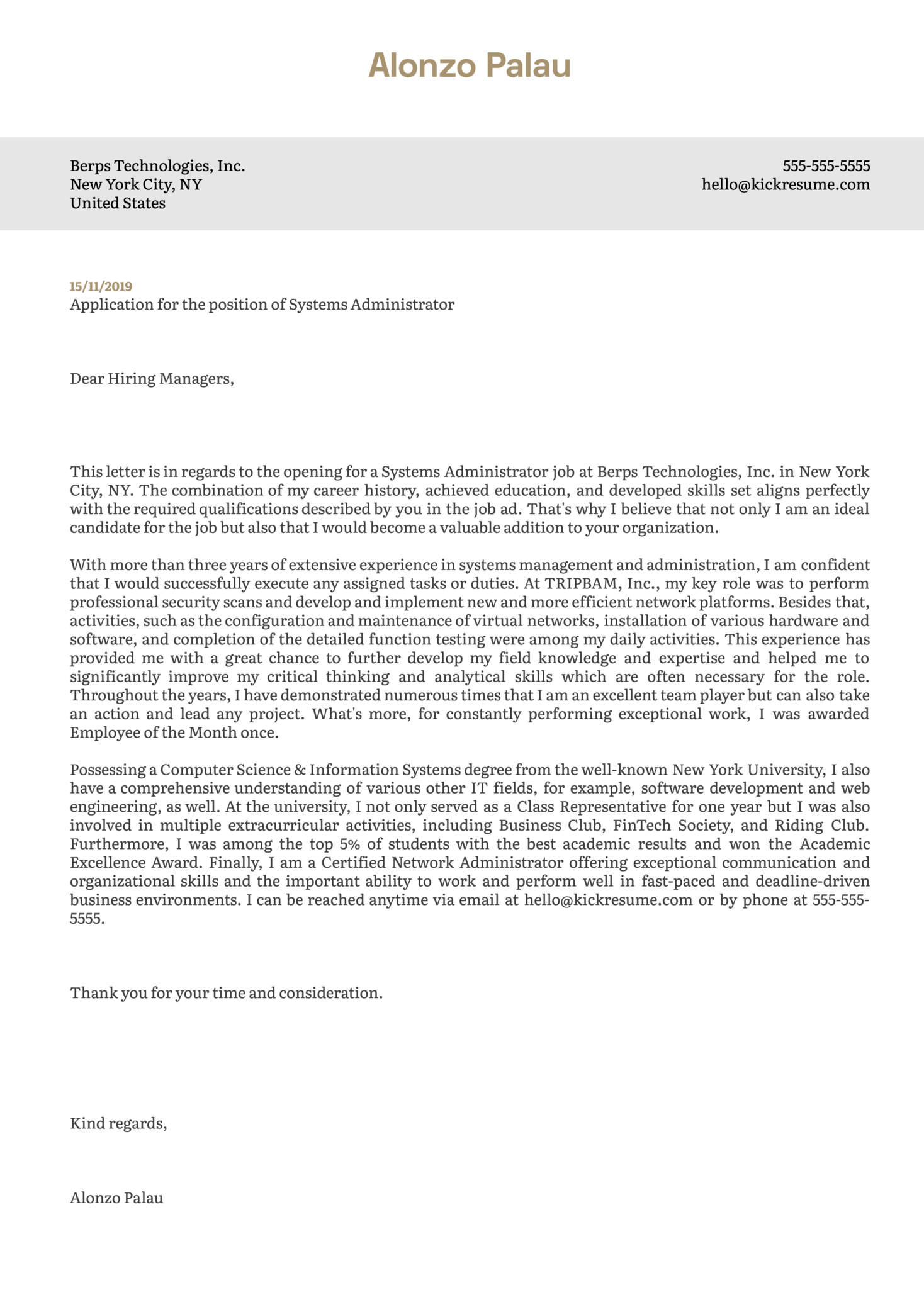 Systems Administrator Cover Letter Example