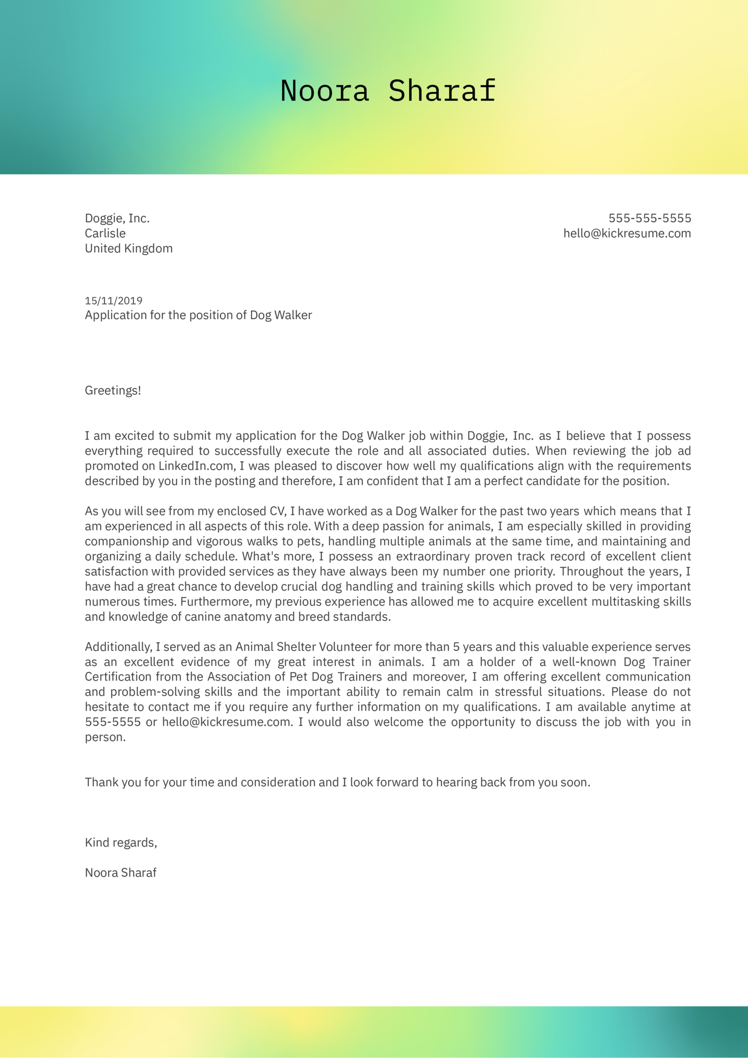 Dog Walking Cover Letter Example
