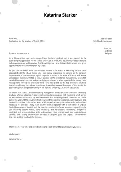 Supply Officer Cover Letter Sample