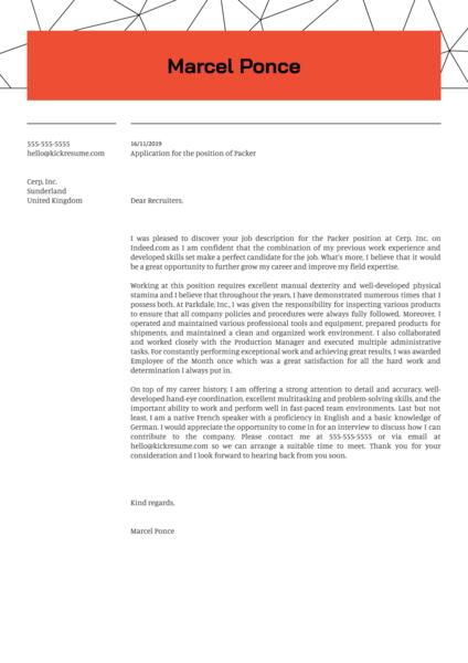 Packer Cover Letter Sample