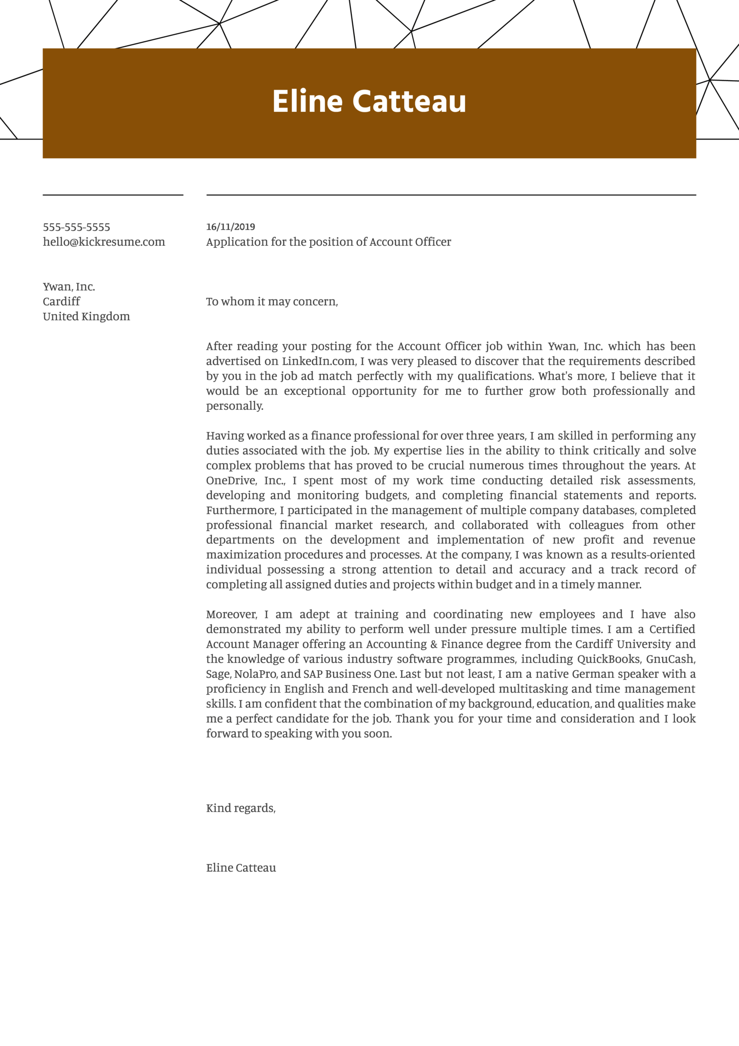 Account Officer Cover Letter Example