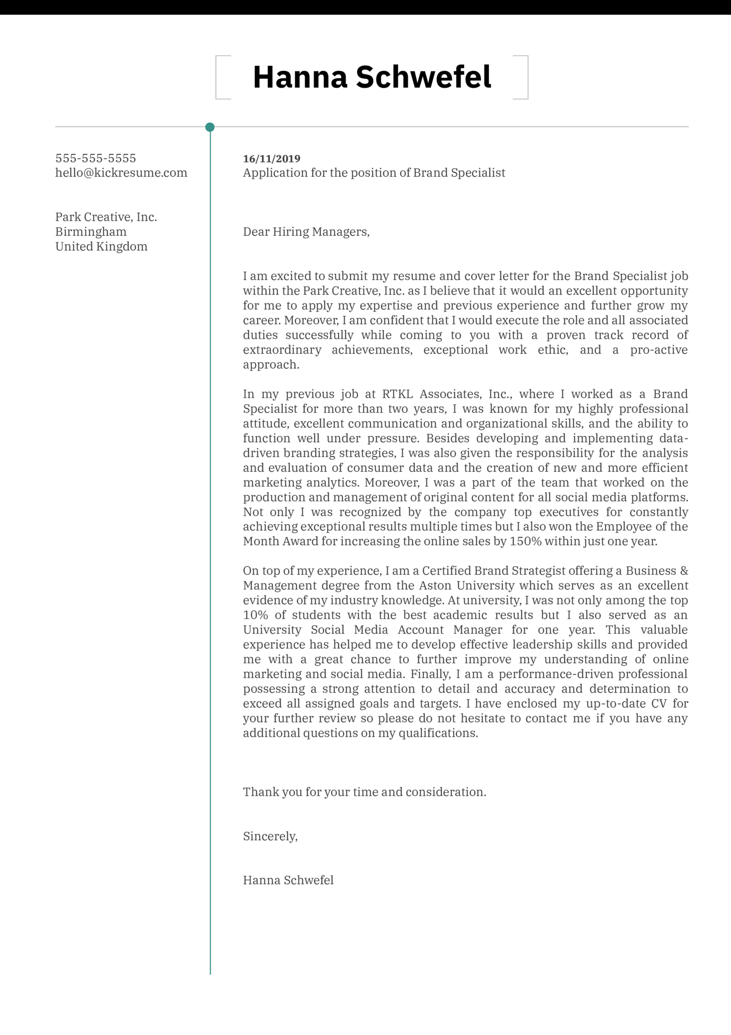 Brand Specialist Cover Letter Example