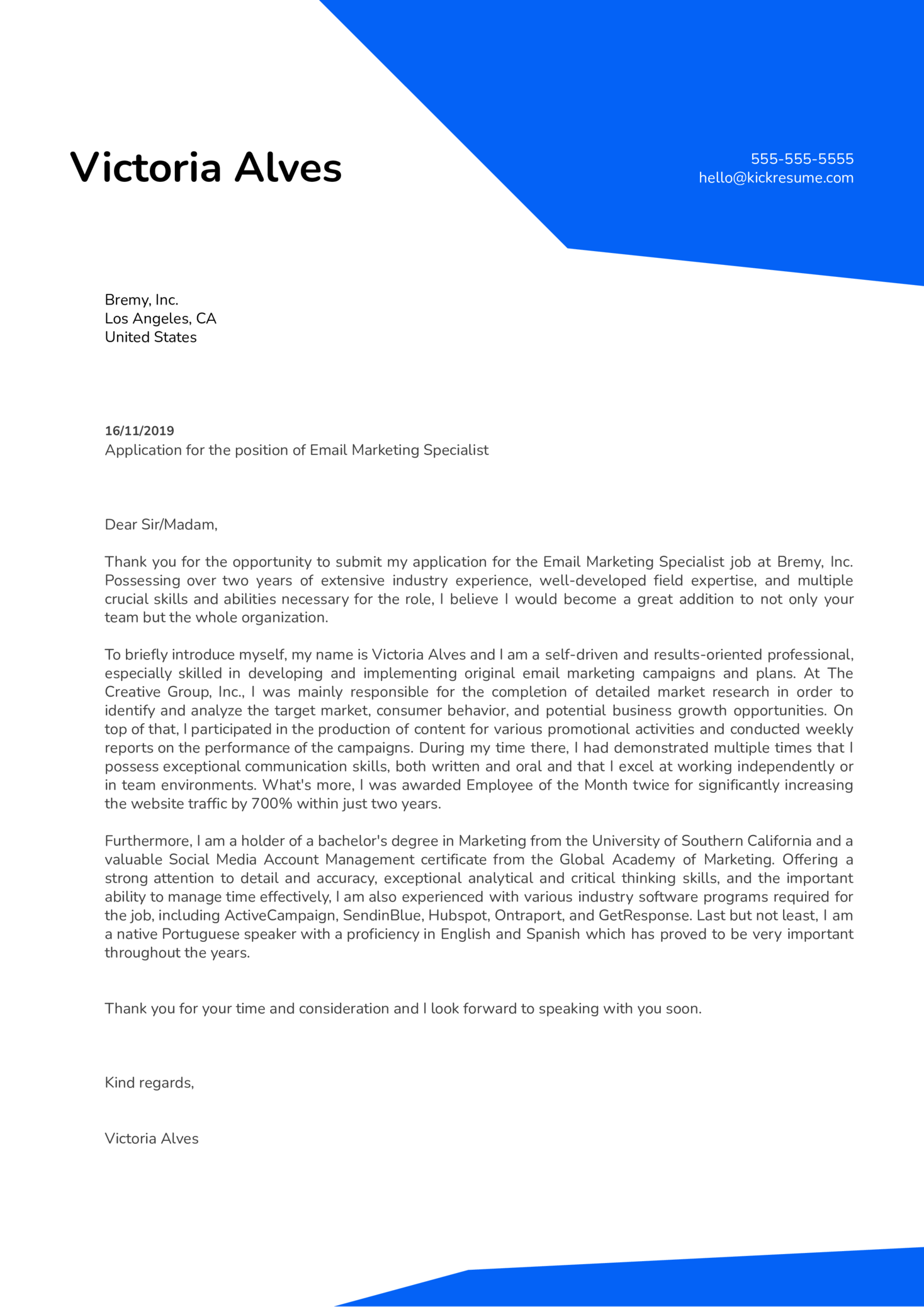 Email Marketing Specialist Cover Letter Example