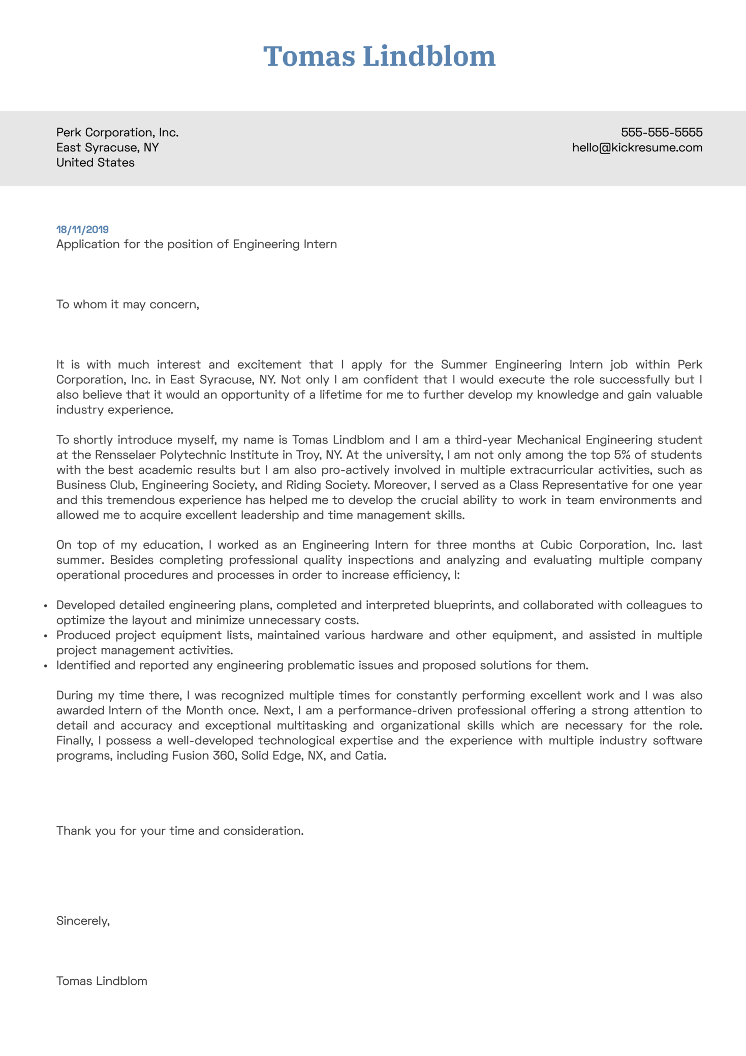 Engineering Intern Cover Letter Example