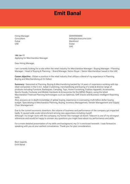 Merchandise Manager Cover Letter Sample