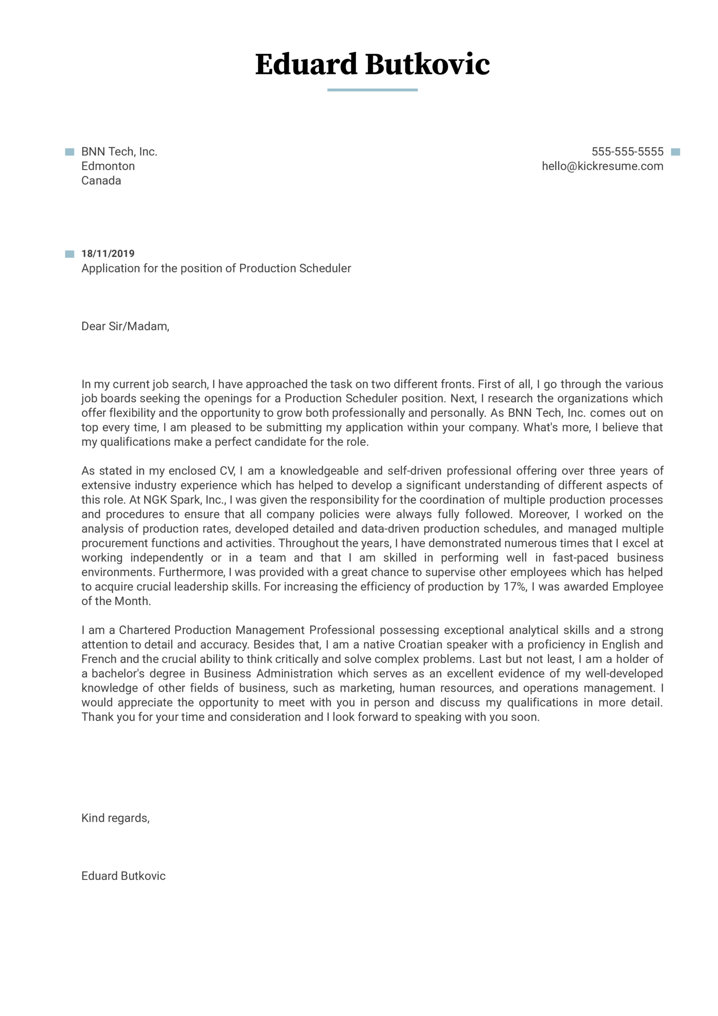 Production Scheduler Cover Letter Sample