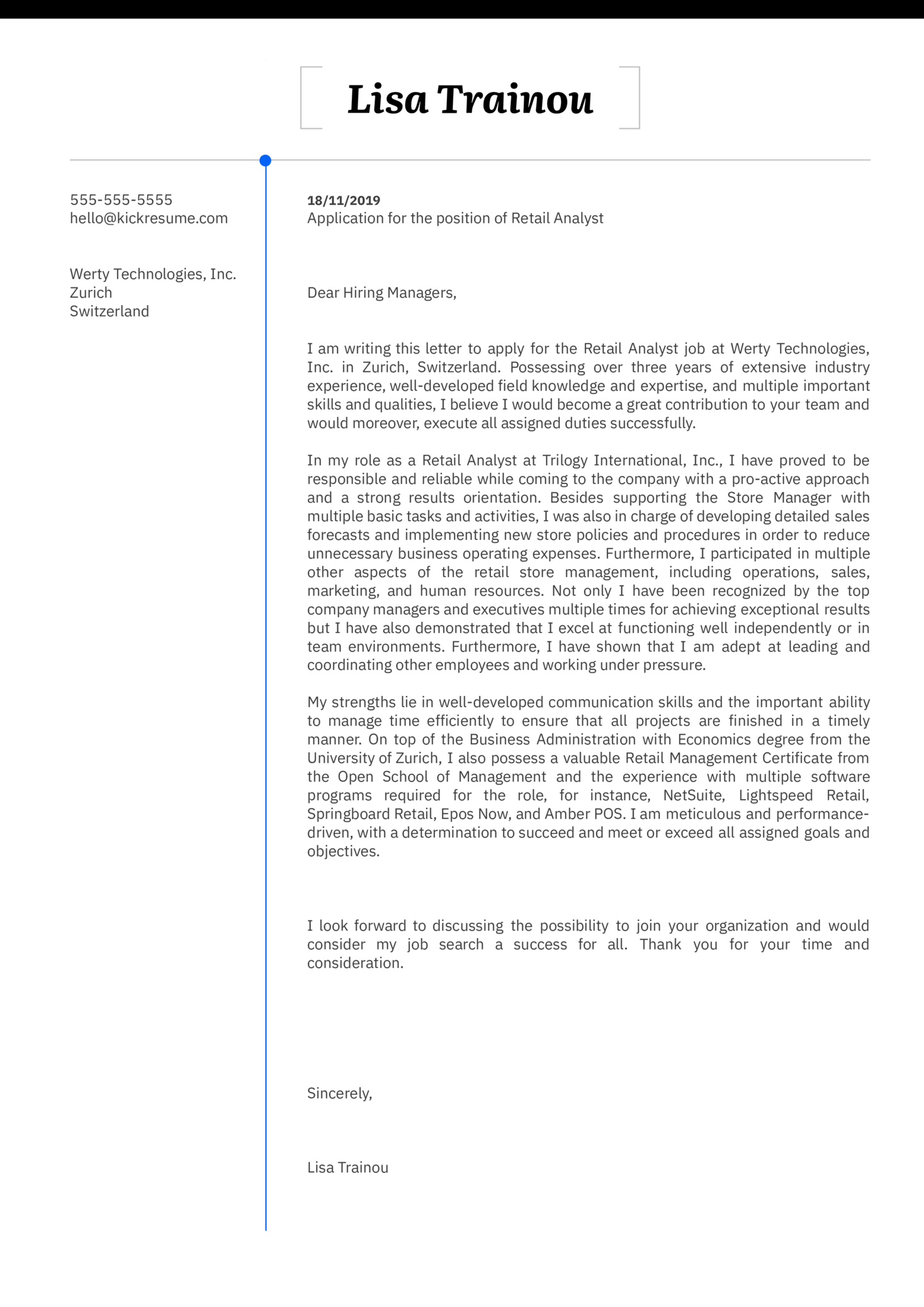 Retail Analyst Cover Letter Example