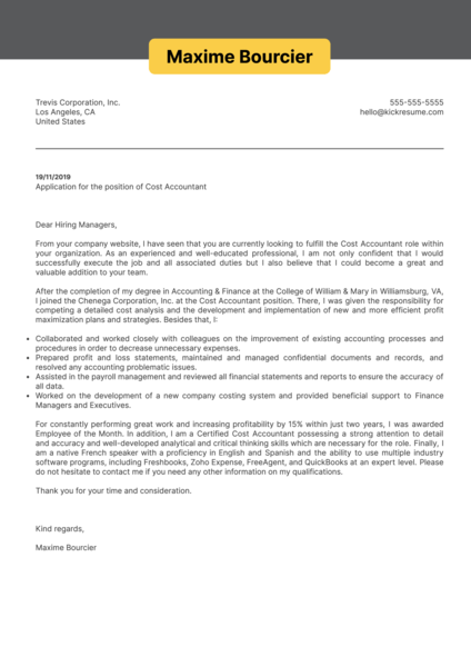 Cost Accountant Cover Letter Example