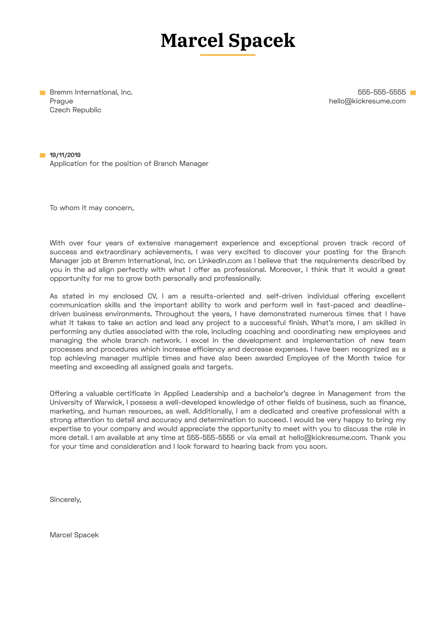 Branch Manager Cover Letter Example