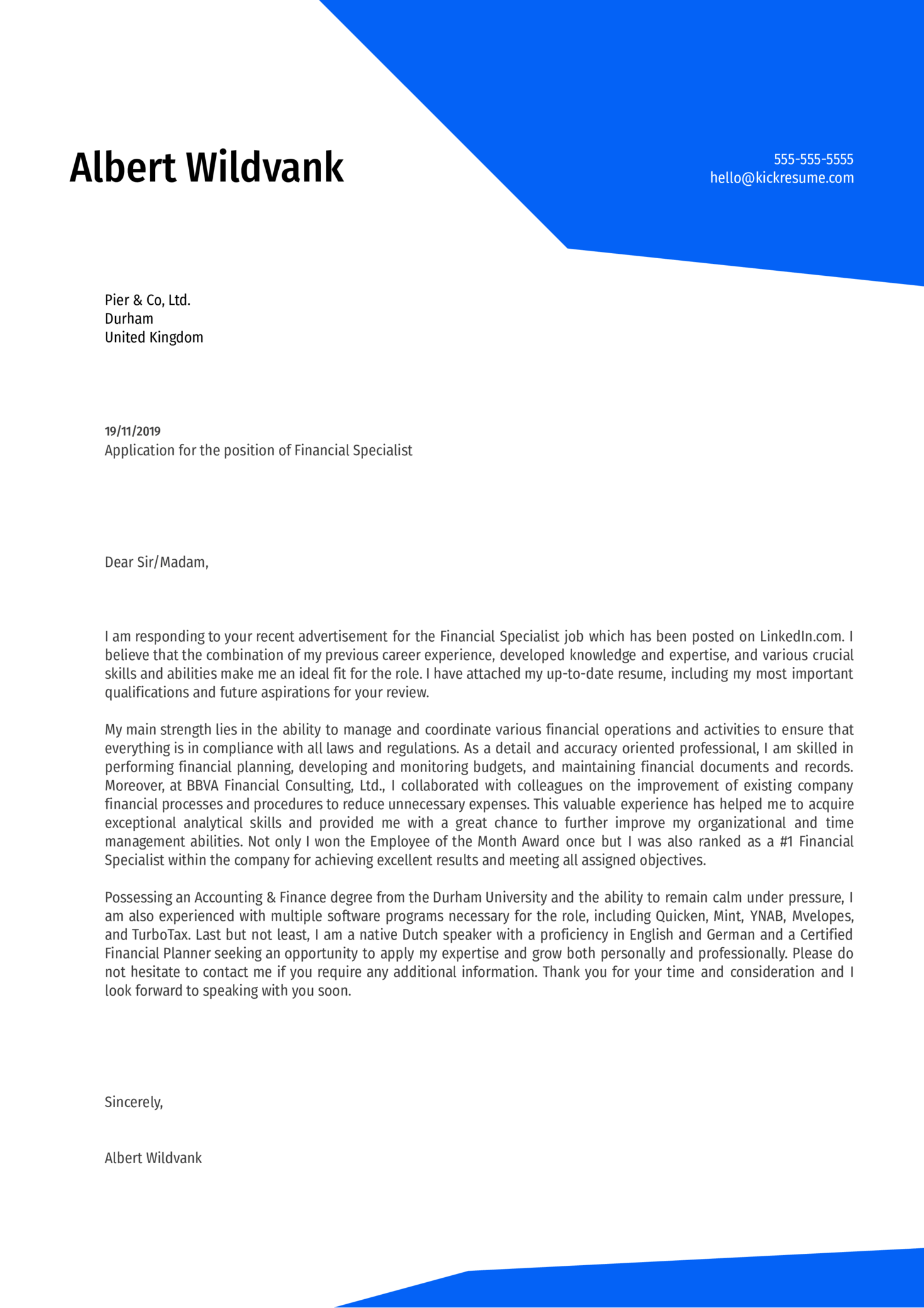 Financial Specialist Cover Letter Sample