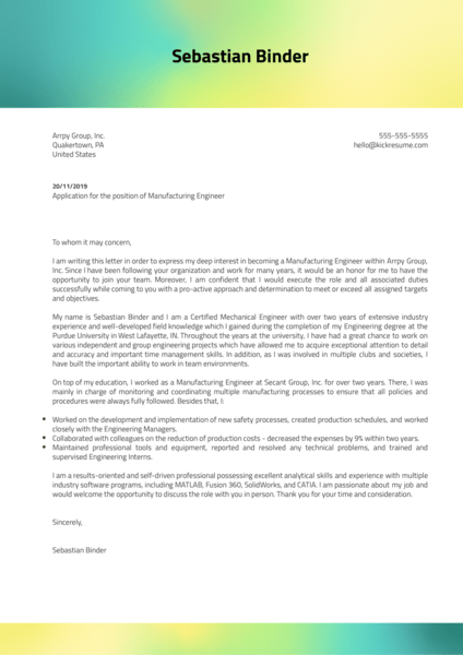 Manufacturing Engineer Cover Letter Example